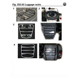Gepäckträger für Reserverad, schwarz mit Halterungen komplett