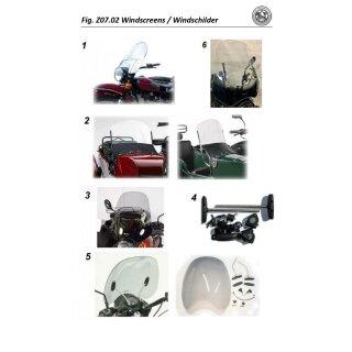 Fahrer Windschild mit Haltersatz rauchgrau